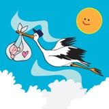 Pájaro y bebé de la cigüeña Fotos de archivo libres de regalías