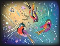 Pájaros abstractos en fondo colorido Imagen de archivo libre de regalías