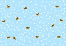 Pájaros del invierno en ramificaciones del corazón Imagen de archivo