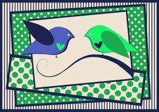 Pájaros en una tarjeta de las tarjetas del día de San Valentín de la ramificación Imagen de archivo
