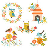 Pájaros y flores Imágenes de archivo libres de regalías