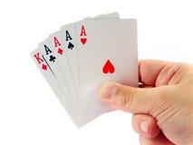 Póker de cuatro as a disposición Imágenes de archivo libres de regalías