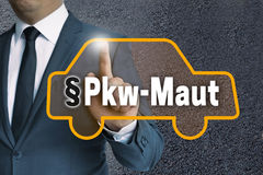 PKW-Maut in german Car toll auto touchscreen is operated by bu. Sinessman concept stock photography