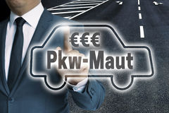 PKW-Maut in german toll car touchscreen man operated concept.  stock photo