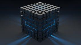 Plástico brillante gris del cubo Luz azul de dentro wallpaper Imágenes de archivo libres de regalías