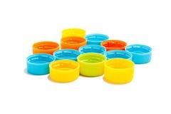 Plástico colorido tampões de garrafa recicl Imagens de Stock