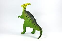 Plástico do dinossauro do Hadrosaur em um fundo branco Fotos de Stock