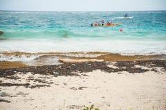 Plástico do oceano na costa imagem de stock