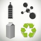 Plásticos e iconos y símbolos del reciclaje stock de ilustración
