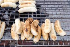 Plátano asado a la parrilla en estufa Imagen de archivo libre de regalías