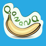 Plátano con el título en la etiqueta Etiqueta engomada con el producto del eco y Imagenes de archivo