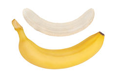 Plátano maduro Plátano pelado Fondo blanco aislado Imagen de archivo libre de regalías