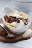 Plátano Muesli del chocolate imagen de archivo
