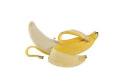 Plátano pelado mitad Foto de archivo libre de regalías