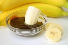 Plátano y chocolate Imagen de archivo libre de regalías