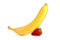 Plátano y fresa Imagen de archivo libre de regalías