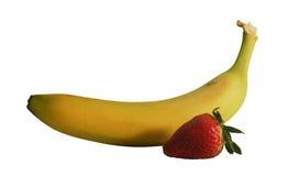 Plátano y fresa con el camino Foto de archivo