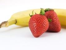Plátano y fresas Foto de archivo libre de regalías