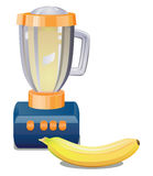 Plátano y licuadora imagen de archivo libre de regalías