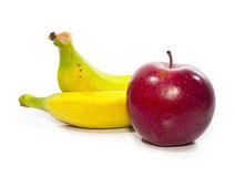 Plátano y manzana Imagen de archivo libre de regalías