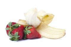 Plátano y strawber Fotografía de archivo libre de regalías