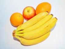 Plátano y todavía de la manzana vida anaranjada Fotografía de archivo libre de regalías