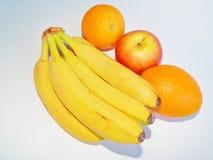Plátano y todavía de la manzana vida anaranjada Fotos de archivo libres de regalías