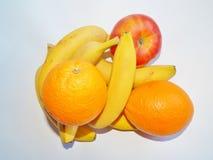 Plátano y todavía de la manzana vida anaranjada Imagen de archivo libre de regalías