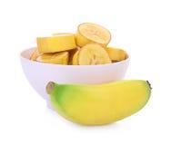 Plátanos aislados en el blanco Fotografía de archivo