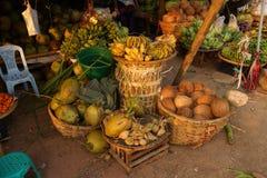 Plátanos, cocos y sandía verdes Fotografía de archivo libre de regalías