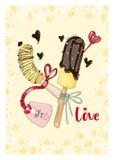 Plátanos en chocolate con la etiqueta en amor Foto de archivo libre de regalías
