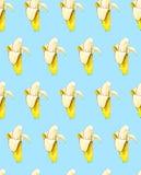 Plátanos en fondo azul Modelo inconsútil Ilustración de la acuarela Fruta tropical Trabajo hecho a mano Fotografía de archivo