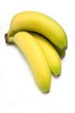 Plátanos en un fondo blanco del estudio. Imagen de archivo