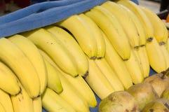 Plátanos frescos cubiertos por una manta azul Imagen de archivo libre de regalías