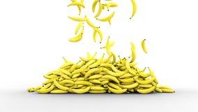 Plátanos frescos que caen con descensos del agua Concepto del alimento representación 3d representación 3d Imágenes de archivo libres de regalías