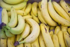 Plátanos maduros frescos en contador Foto de archivo