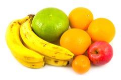 Plátanos mandarina y manzana de las naranjas Fotografía de archivo