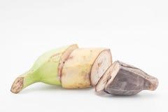 3 plátanos prueban la diferencia Aislado en blanco Imagen de archivo libre de regalías
