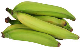 Platanos, también plátanos verdes. Aislado Imágenes de archivo libres de regalías