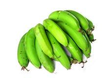 Plátanos verdes sobre blanco Imágenes de archivo libres de regalías