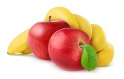 Plátanos y manzanas aislados Fotos de archivo libres de regalías