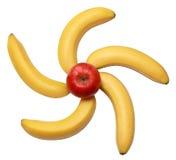Plátanos y manzanas Imágenes de archivo libres de regalías