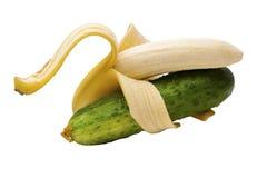 Plátanos y pepino del dúo Foto de archivo