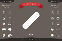 Plâtre médical, icône adhésive de bandage Image libre de droits
