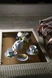 Pläd på soffan och det varma teet i tabell Royaltyfri Bild