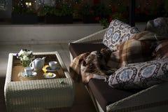 Pläd på soffan och det varma teet i tabell Royaltyfri Foto