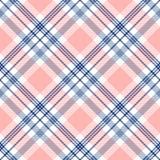 Plädkontrollmodell i marinblått, rosa färger och vit seamless textur för tyg arkivbilder