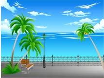 Pläne auf dem Meer vom Park Stockfotos