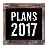 Pläne 2017 auf der Weinlesetafel lokalisiert auf weißem Hintergrund Stockbilder