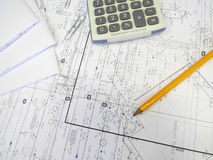 Pläne auf Tabelle Stockbilder